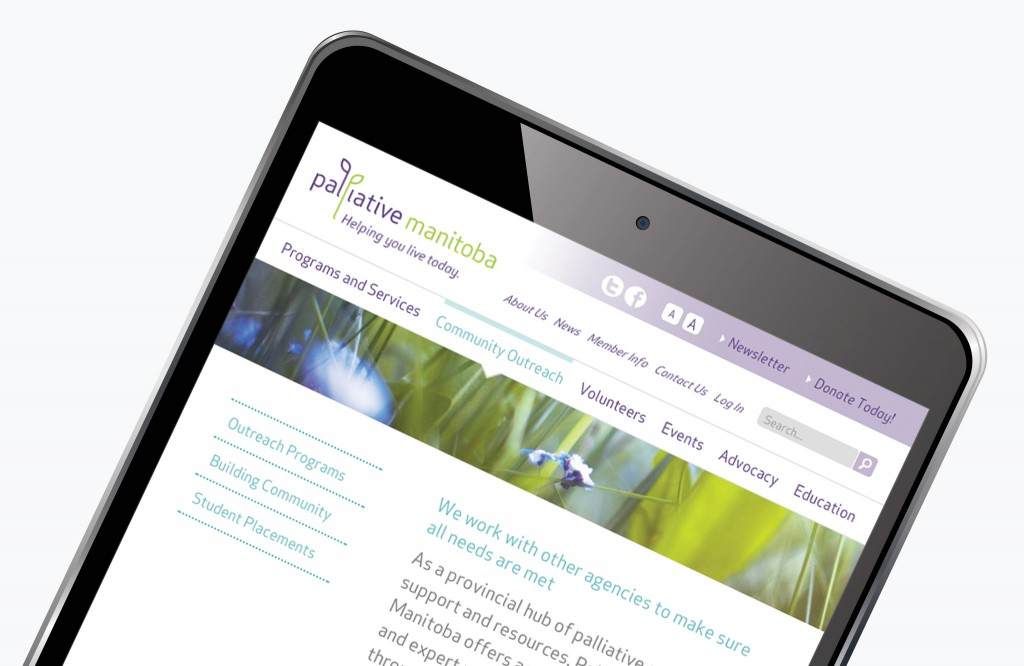 Palliative Manitoba Website - Tablet