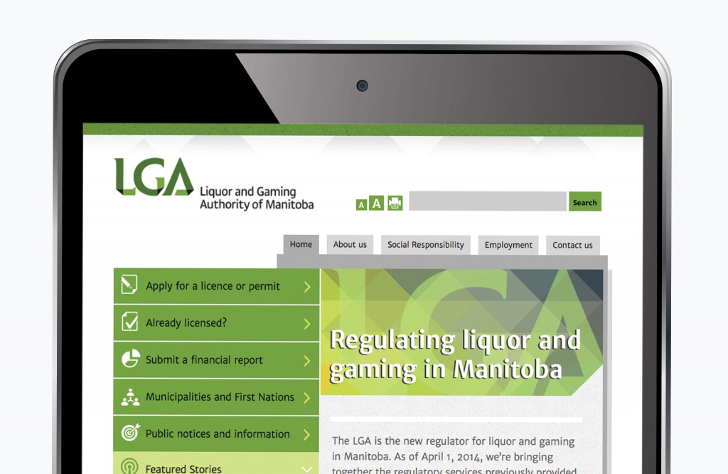 LGA Manitoba Website - Tablet
