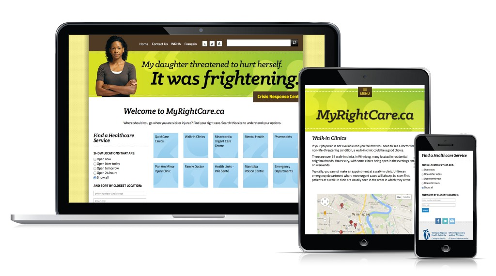 My Right Care Website - Desktop, Tablet and Mobile