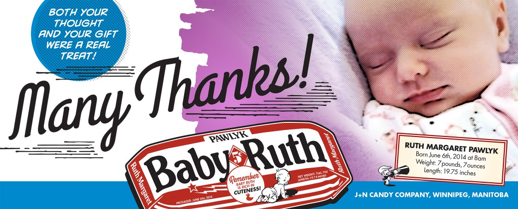 Baby Ruth thank you card